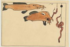 Zwei Fische, zwei Angelhaken, zwei Würmer 1901,sn3