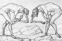Zwei Männer, einander in höherer Stellung vermutend, begegnen sich, 1903