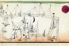 (Hafenbild mit schwarzem Halbmond und indischroten Sonne, 1917, 90