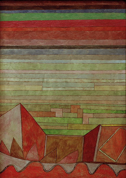 2-L13-A1-1932-5  P.Klee, Blick in das Fruchtland  Klee, Paul 1879-1940. 'Blick in das Fruchtland', 1932.189. Oelfarben auf Pappe auf Keilrahmen, 49 x 35 cm. Frankfurt a.M., Staedelsches Kunstinstit.  E: P.Klee, View of the Fertile Country  Klee, Paul 1879-1940. 'Blick in das Fruchtland', 1932.189. (View of the Fertile Country). Oil on cardboard on frame, 49 x 35cm. Frankfurt a.M., Staedelsches Kunstinstit.
