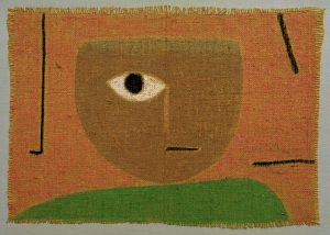 3-K216-R32  Paul Klee, Das Auge  Klee, Paul 1879-1940. 'Das Auge', 1938, 315 (T.15). Pastellkreide und Kleisterfarbe auf Jute, 45/46 x 64,5/66,5 cm. Schweiz, Privatsammlung.  E: Paul Klee, The Eye / 1938  Klee, Paul 1879-1940. 'Das Auge' (The Eye), 1938, 315 (T.15). Pastel and paste paint on jute, 45/46 x 64.5/66.5cm. Switzerland, private collection.