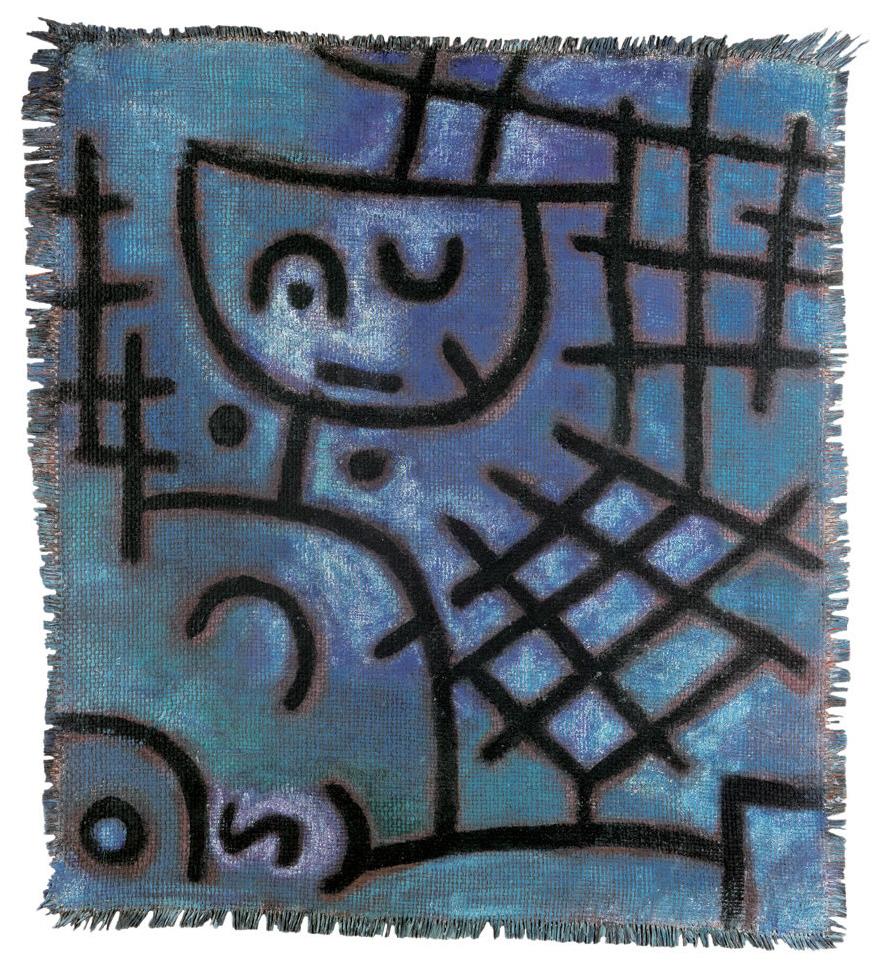 Gefangen 1939 (Öl, ausgesparte Zeichnung mit Kleisterfarbe auf kleistergrundierter Jute auf Jute)