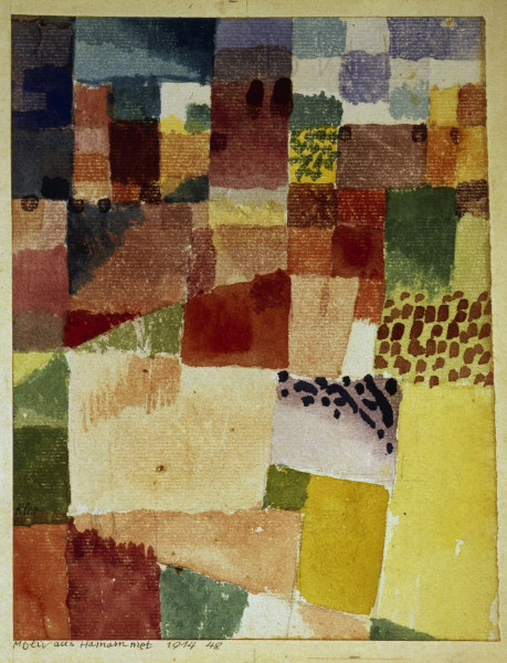 3-K216-B6-B  Klee, Motiv aus Hamammet/Aquarell 1914  Klee, Paul 1879-1940. 'Motiv aus Hamammet', 1914. Aquarell, Bleistift, 20,2x15,5 cm. Basel, Kunstmuseum, Kupferstichkabinett.  E: Klee / Motive from Hamammet / 1914  Klee, Paul 1879-1940. 'Motive from Hamammet', 1914. Watercolour, pencil, 20.2 x 15.5cm. Basel, Kunstmuseum, Kupferstichkabinett.