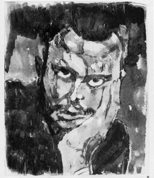 Selbdtportrait en Face in D. Hand gestützt, 1909,32