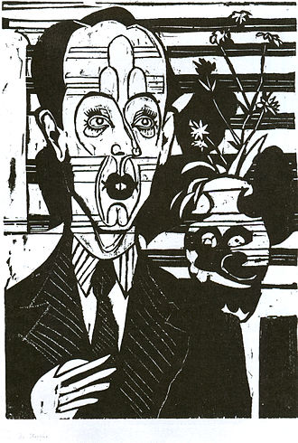 Bildnis Dr. Huggler - Holzschnitt - 50 x 35 cm - Kirchner Museum Davos