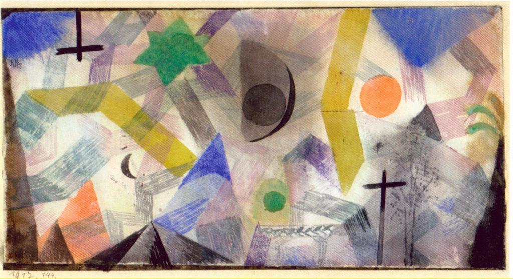 Mystische Landschaft mit Gestirnen und Kreuz 1917, 144