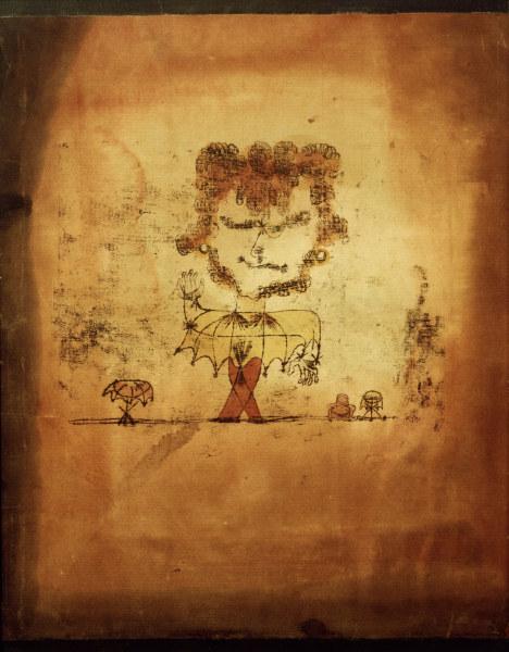 2-M180-A2-1922-9  Paul Klee, Sganarelle  Klee, Paul 1879-1940. 'Sganarelle', 1922.25 Oelfarbezeichnung und Aquarell auf Papier, auf Karton, mit oben und unten bemalten Randstreifen aufgezogen, 49 x 19 cm. Duesseldorf,Kunstslg.Nordrhein-Westfalen.